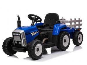 Tractor Blauw + Trailer - Leder look Stoel - Softstart